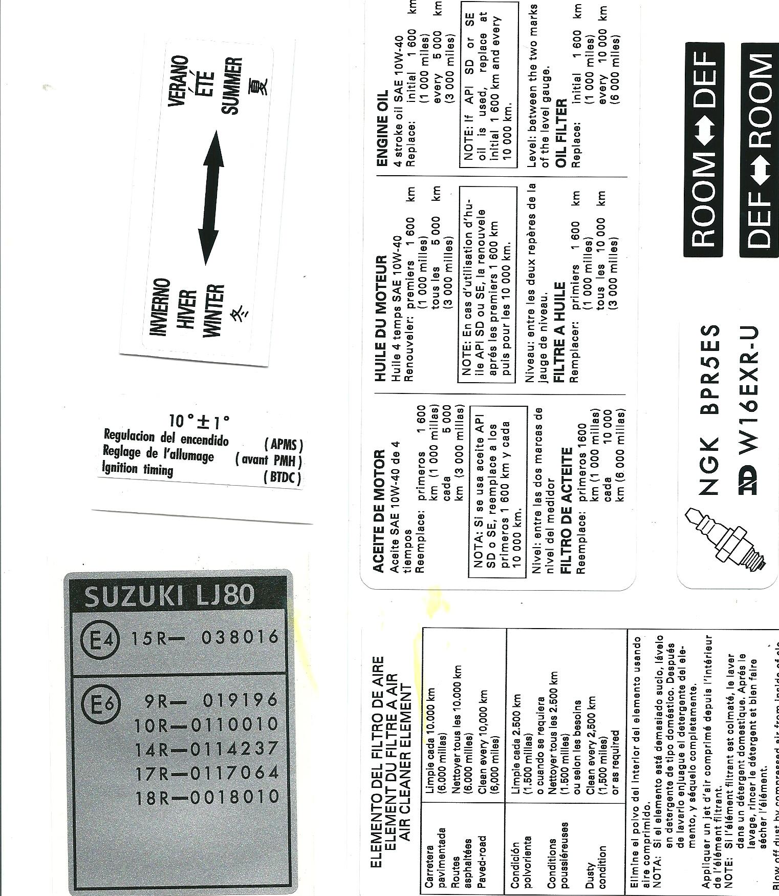 Suzuki Lj80 Decal Set Sticker Set